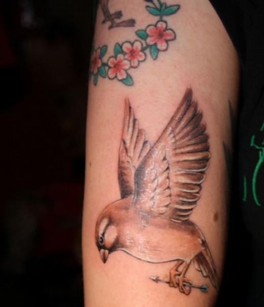 Unique Sparrow Shaped Tattoo Design for Girls
