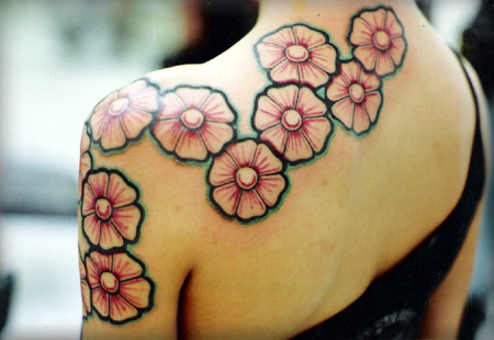 Cute Pinky Rose Tattoo Design for Girls