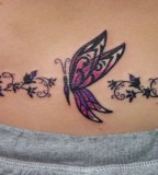 Unique Small Butterfly Shaped Tattoo Design for Girls