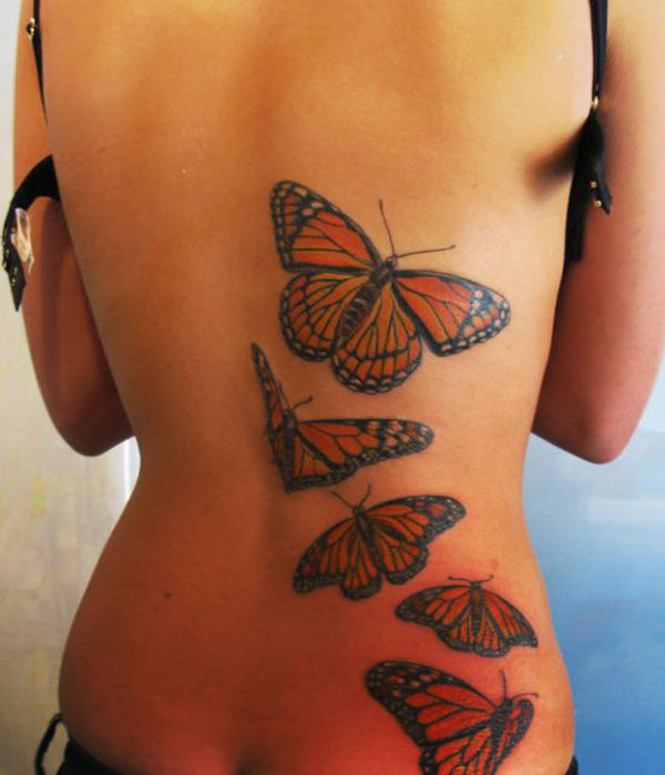 Five Butterfly Shaped Tattoo Design for Girls