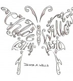 Name Tattoo in Butterfly Design by Denise A Wells