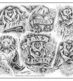 Lovely Artistic Flowers And Names Tattoo Designs