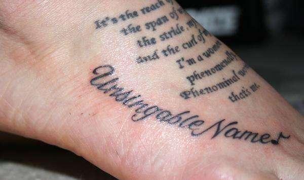 Text Foot Tattoo Design for Women