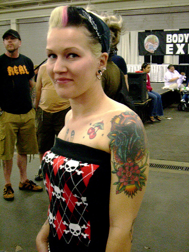 Girl with Cute Tattoo Design on Arm at Tattoo Expo San Francisco 2007