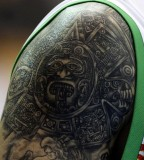 Mexicos Hector Hernandezs Tattoo Is Seen During Their Mens