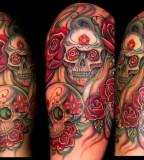 Modern Half Skull Arm Tattoo Ideas