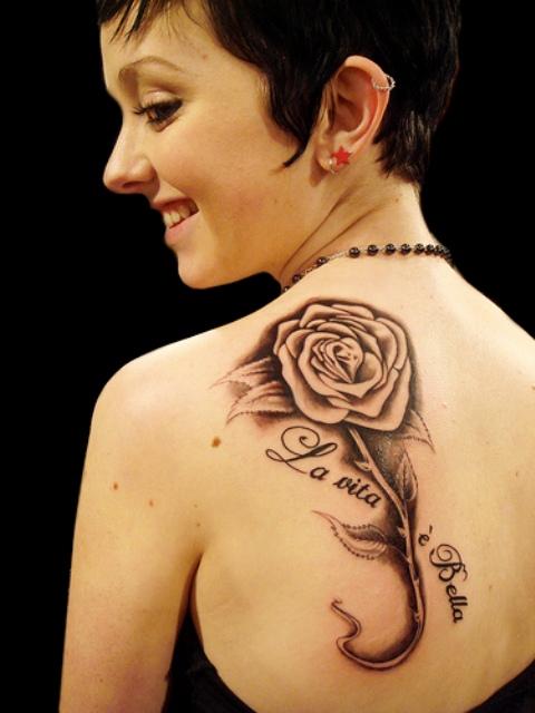 Back Rose Tattoo Designs For Women – Shoulder Tattoo Designs for Women