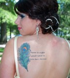 Cool Peacock Feather Shoulder Tattoo Designs For Women