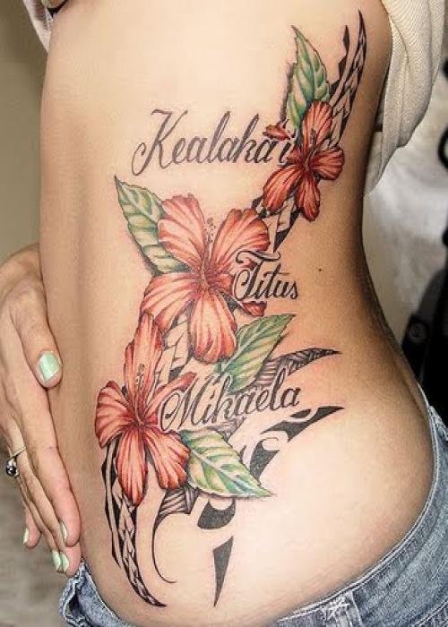 Beautiful Floral / Flowers and Lettering Tattoo Designs For Women Fashionmasti