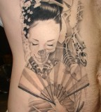 Beautiful Women & Koi Fish Tattoos Designs - Side Body / Rib Women Tattoo Ideas