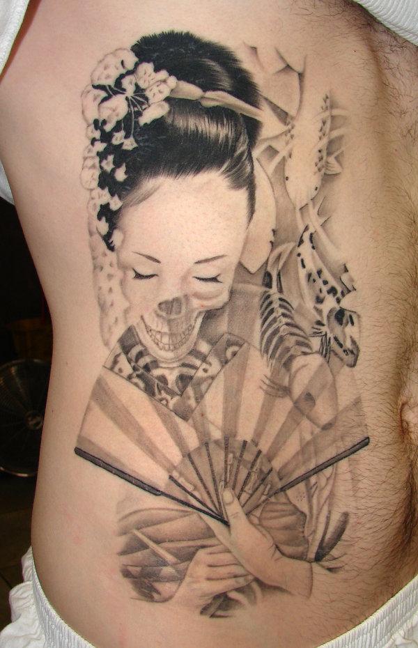 Beautiful Women & Koi Fish Tattoos Designs – Side Body / Rib Women Tattoo Ideas