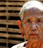 Old-Woman Facial Tribe-Tattoo Design