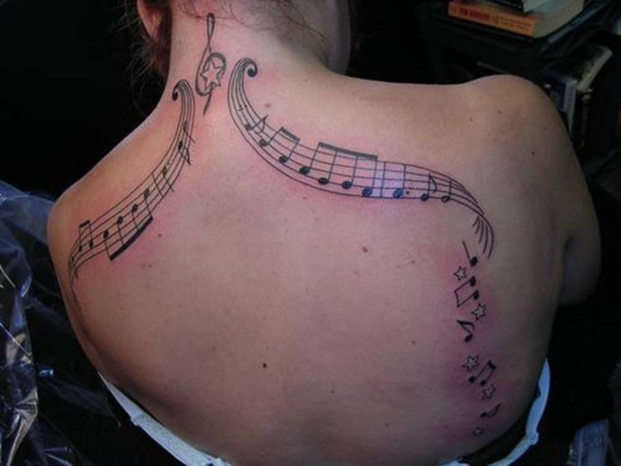 Neck Art Body Tattoos – Music Notes Tattoos