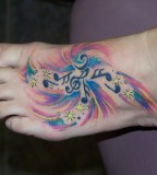 Color Music Tattoo Design On Foot