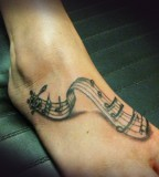 Foot Tattoos Of Music Notes