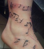 Leg Tattoo Custom Free Hand Musical Notes