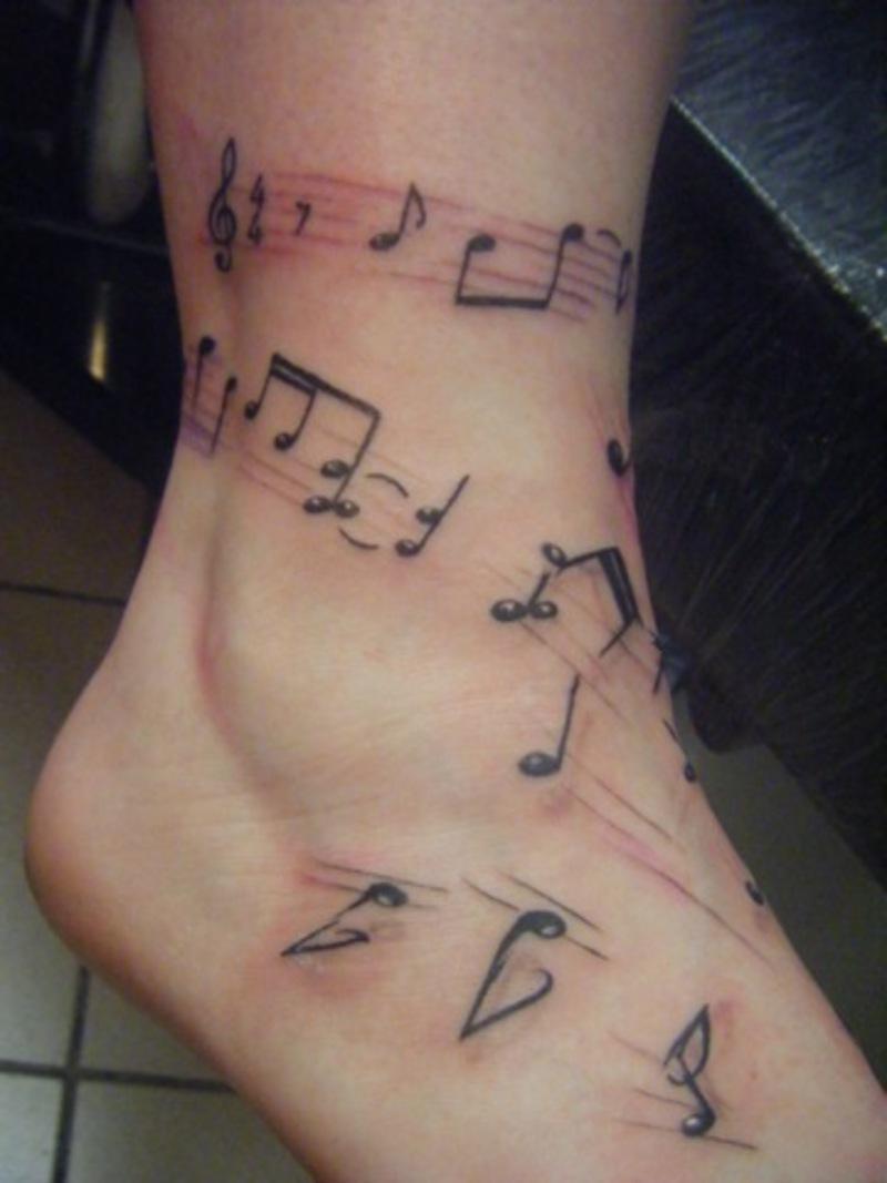 Leg Tattoo Custom Free Hand Musical Notes