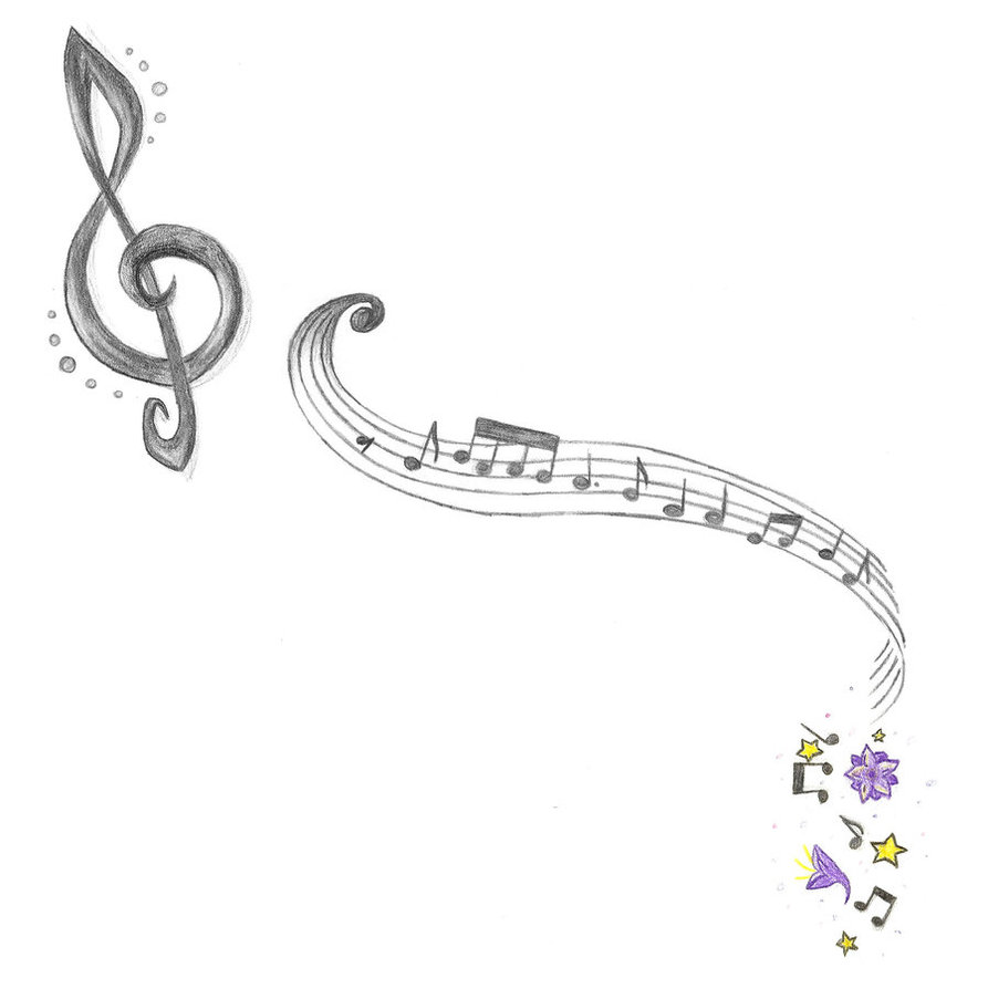 Music Notes And Plum Blossoms Tattoo Ideas
