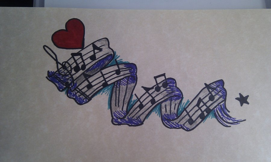 Spiral Music Notes Tattoo
