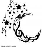 Crescent  / Star / Music Notes Tattoo Ideas