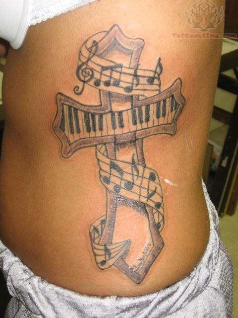 Cross Music Tattoo Ideas