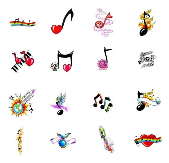 Color Musical Note Tattoos Symbol Designs
