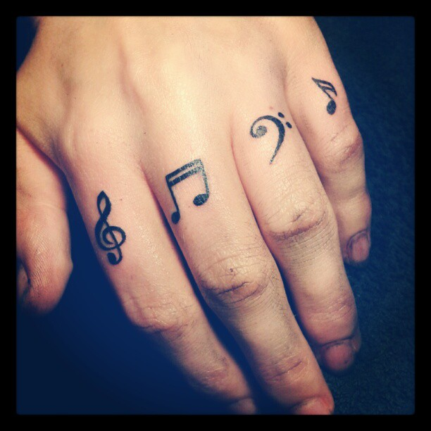Musical Notes Tattoo On Finger