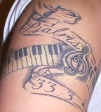 Tattoo Musical Notes Keyboard And Psalms 33