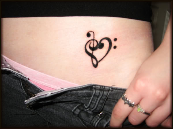 Music Notes Shape Heart Tattoos Design