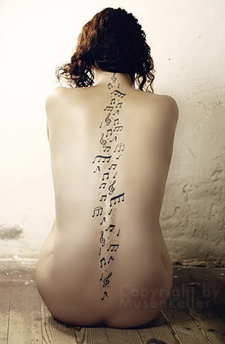 Backbone With Musical Notes Tattoo