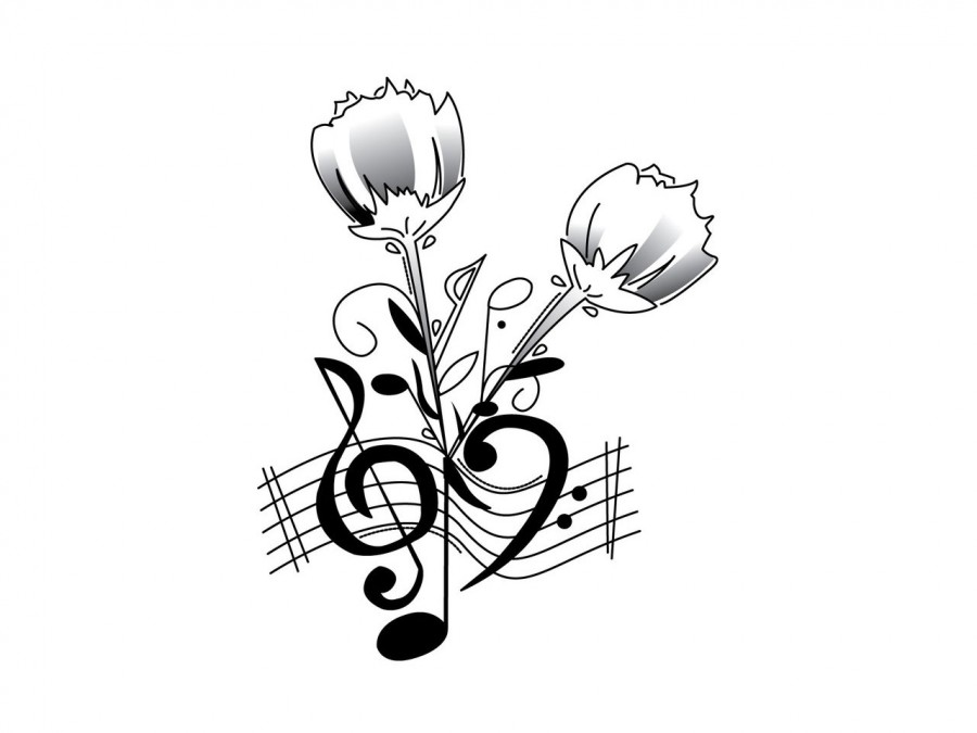 Clef Music Notes And Roses Tattoo Design