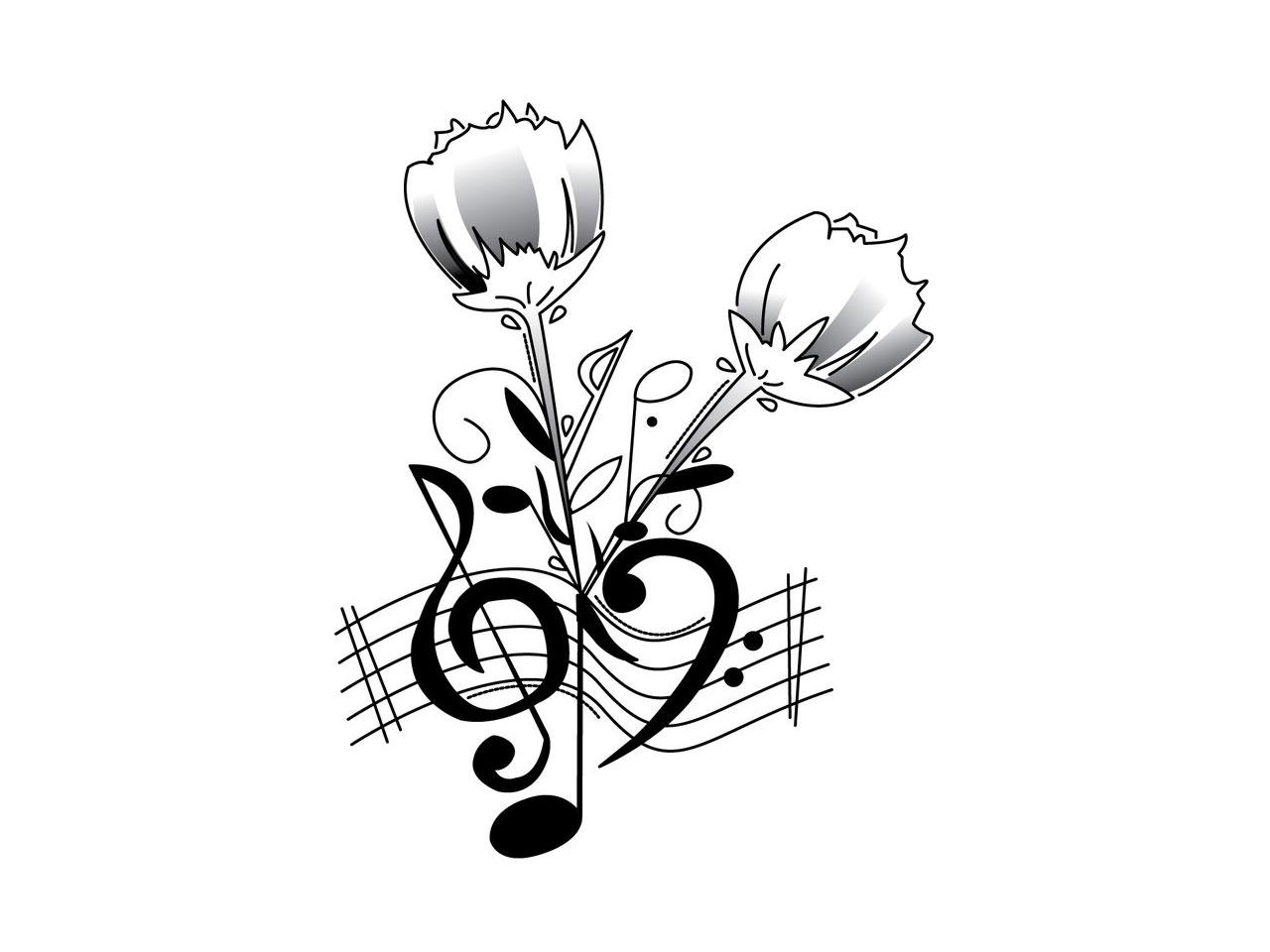 Картинка чб музыка