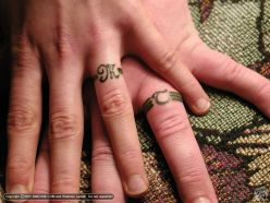 Sweet Couple Ring Finger Beautiful Tattoo Design
