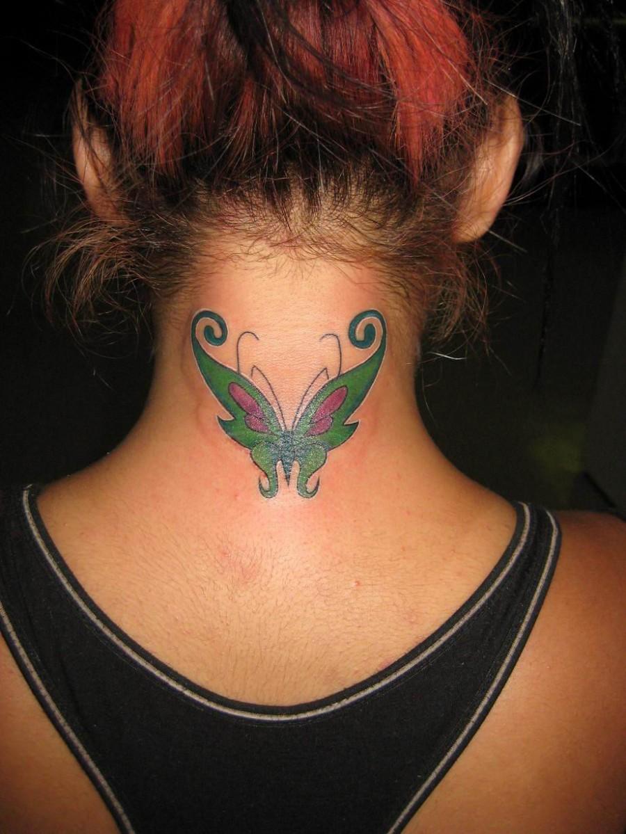Beautiful Black Light Butterfly Tattoo Design