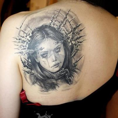 Gory Gothic Women Head Tattoo Design for Women - Tattoos for Women