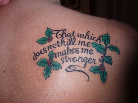 Beautiful Tattoo Quotes on Girls' Back Shoulder