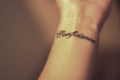 Word Of Confidence Wrist Tattoo