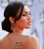 Beautiful Tattoo Sayings Megan Fox On Upper Back