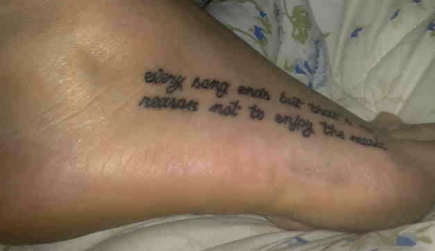 Tattoo Of Quotes On Feet For Girl