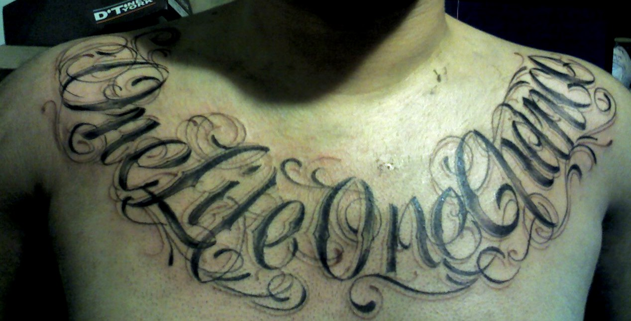 One Life One Chance Tattoo On Chest -