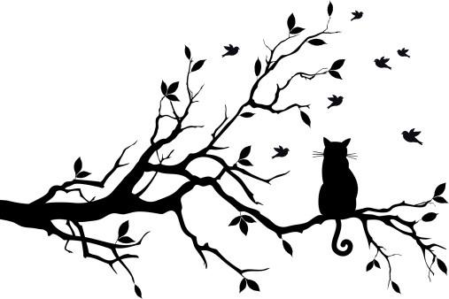 Black Cat And Tree Tattoo Designs