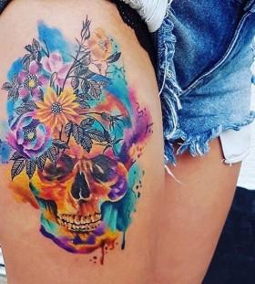 tattoobeynur-watercolor-skull-tattoo