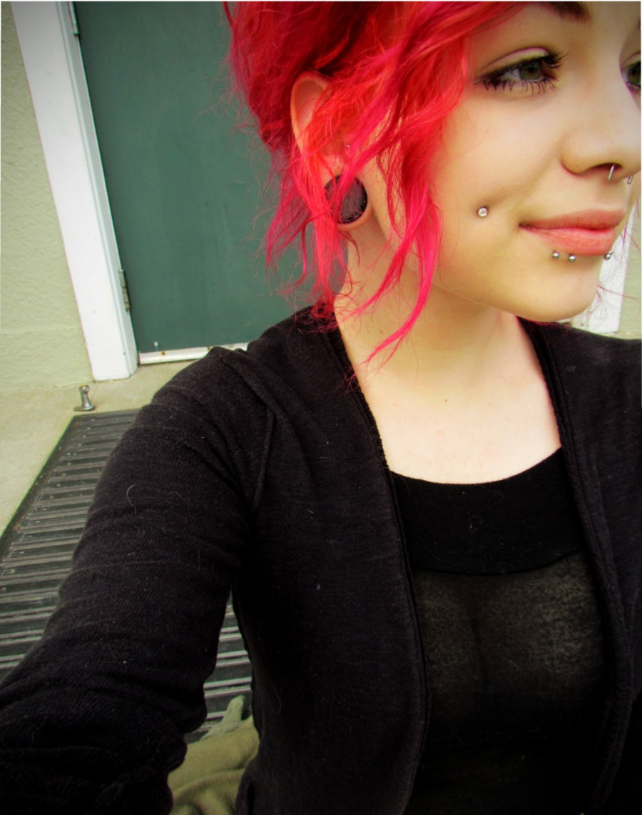 Red Hair Girl with Under Lip Piercings
