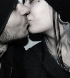 Tattoos Gauges Piercings Bridge Lip Beanie Kiss Cute Couple (NSFW)
