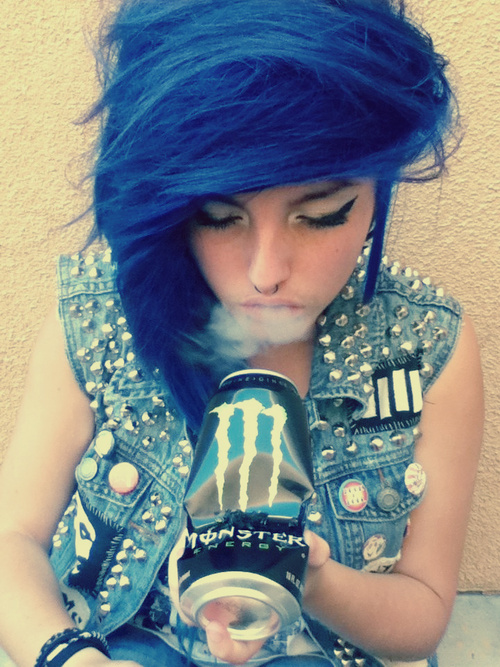 Blue Hair Girl with Nose Piercings