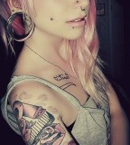 Arm Colored Tattoo and Piercing for Girl