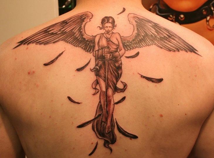 Cool 3D Angel Tattoo Design For Men