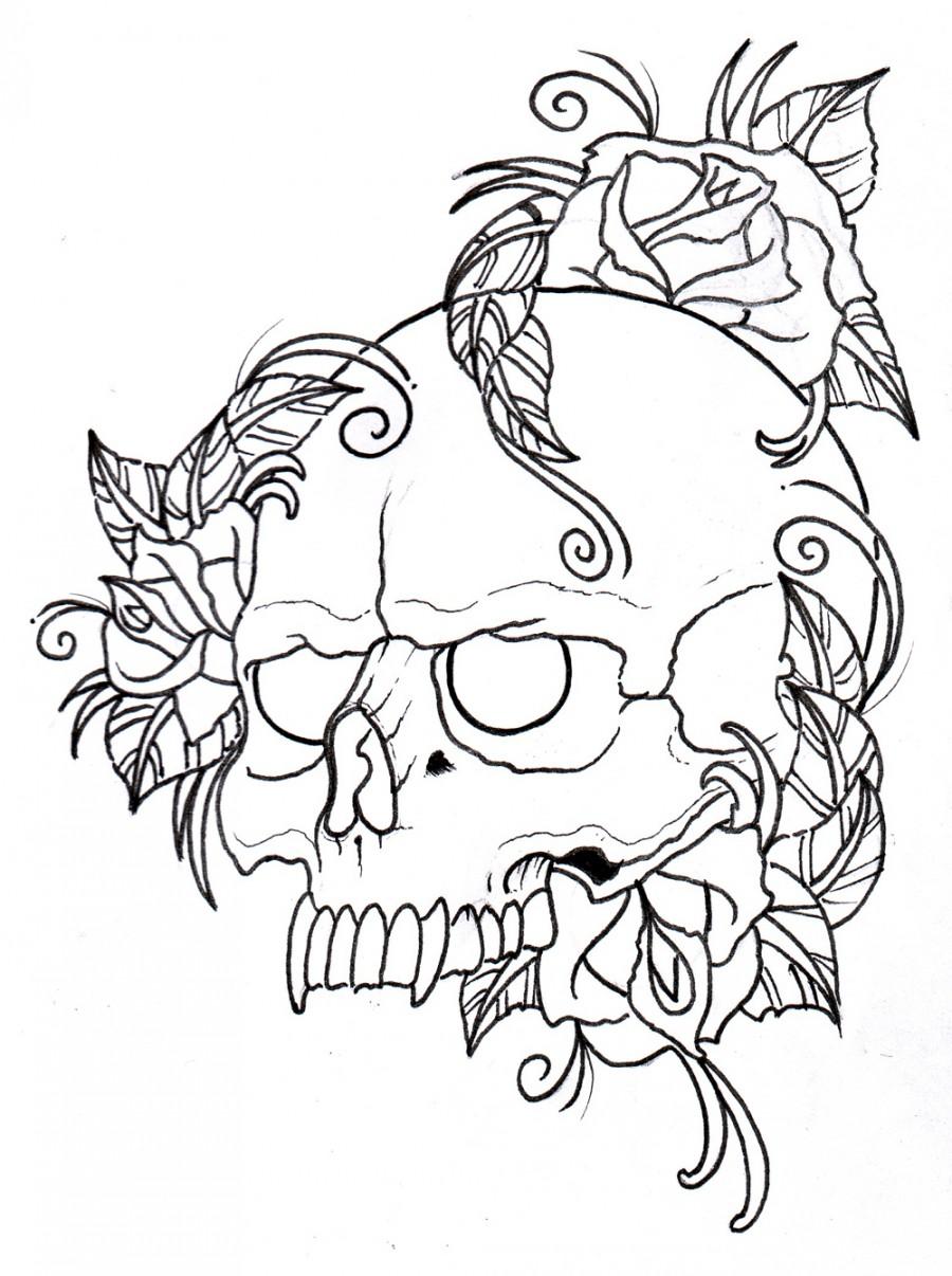 Skull and Rose Tattoo Ideas for Men