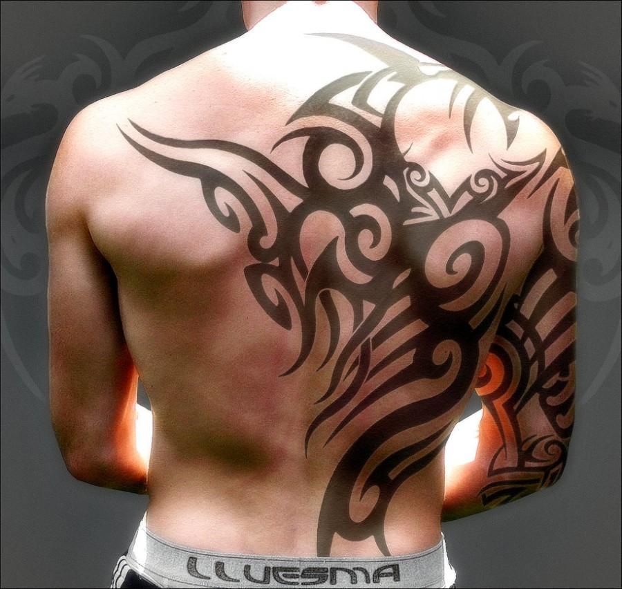 Tribal Tattoos Designs For Men on Half Body