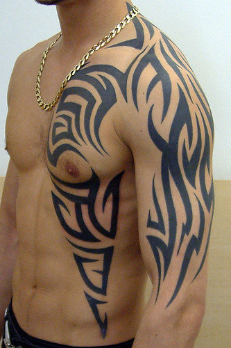 Black Tribal Tattoo Designs For Men on Half Body